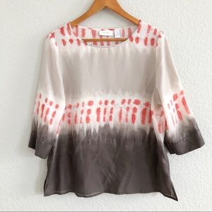 Chico's Watercolor Tie Dyed Tan & Red Tunic Top 1